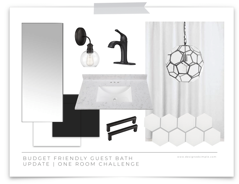 Budget Friendly Guest Bath Update | One Room Challenge | Fall 2019 | Week 1 | Designed Simple | designedsimple.com
