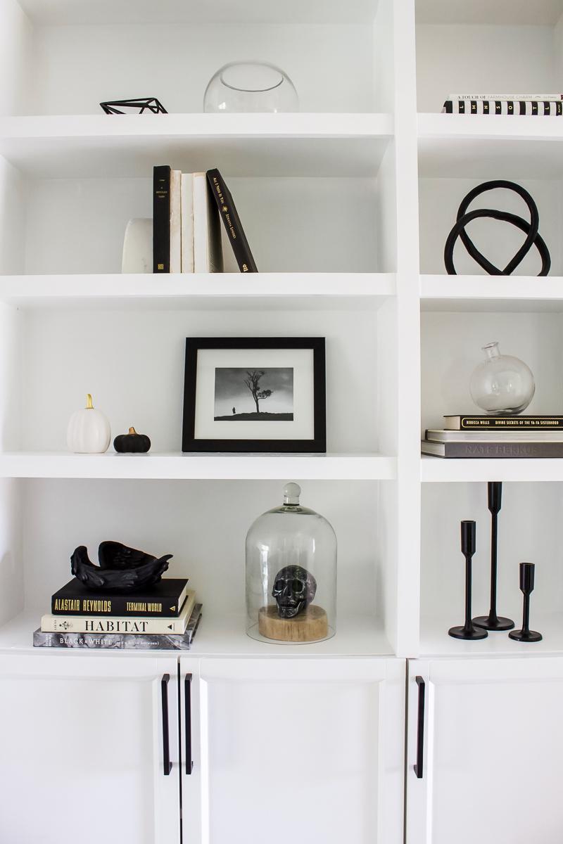 Simply Spooky Shelves | Halloween Home Decor and Shelves | Designed Simple | designedsimple.com
