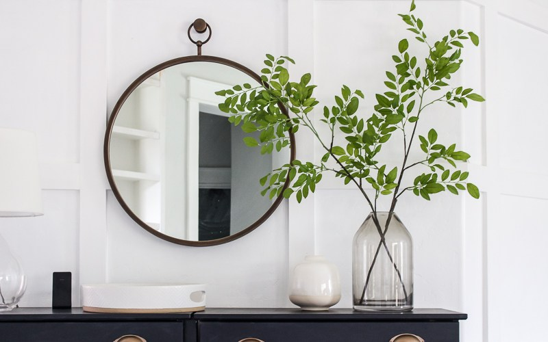 A shopping guide of 6 round hoop mirrors for the entryway, bedroom, or anywhere in the house! | Designed Simple | designedsimple.com