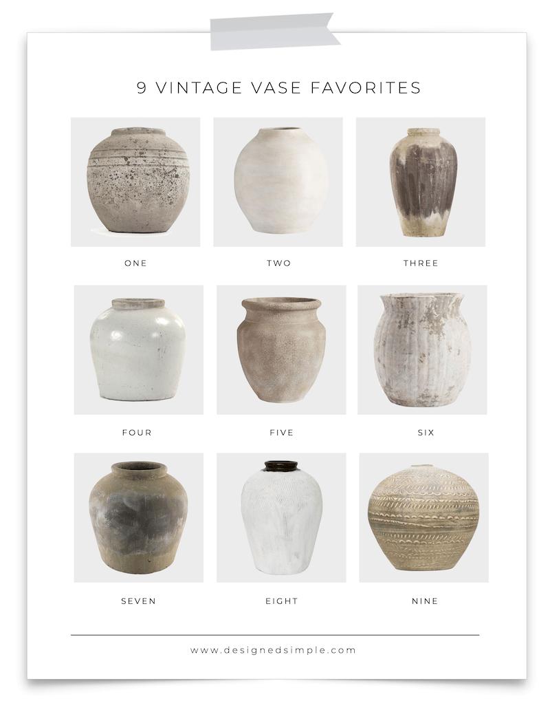 9 Vintage Vase Favorites | The biggest design trend of 2020! | Designed Simple | designedsimple.com