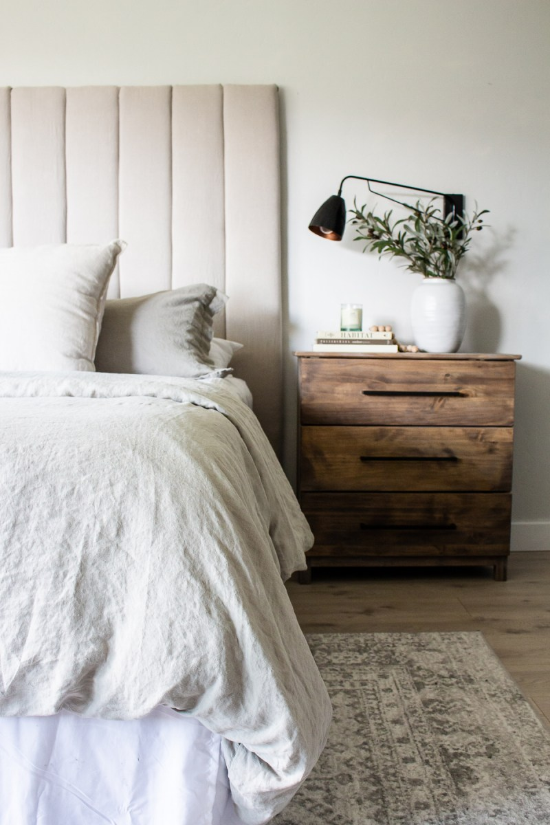 DIY Upholstered Channel Headboard | Get the look of a high end bed with an easy DIY! | Designed Simple | designedsimple.com
