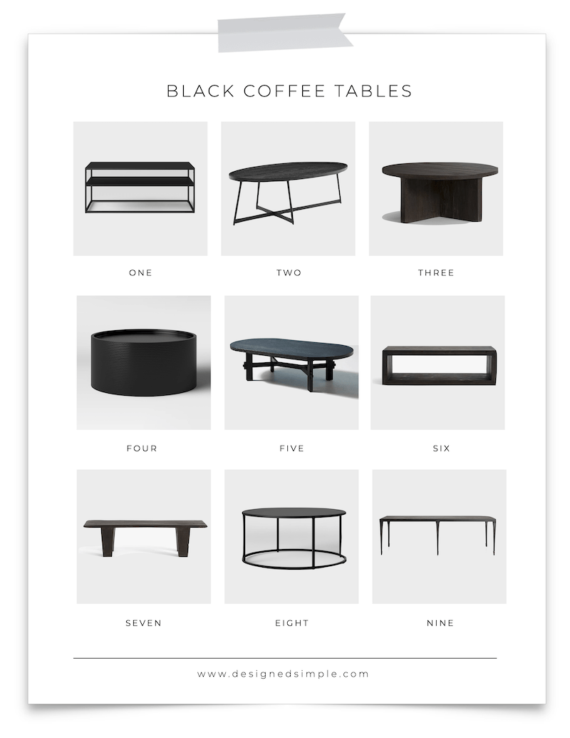 9 Black Coffee Tables | Sharing my favorite black coffee tables from rectangular to circular and a beautiful oval - timeless and easy to style, the options are endless! | Designed Simple | designedsimple.com