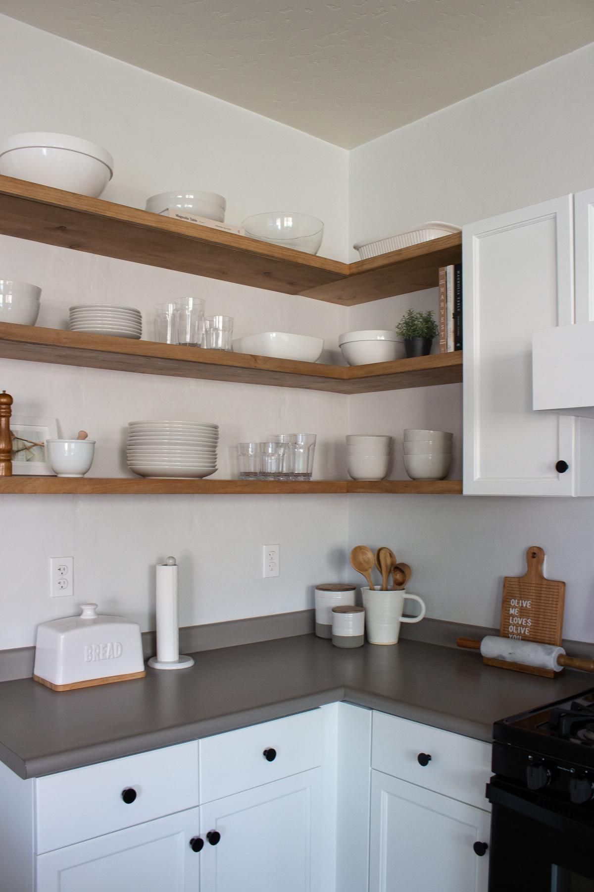 DIY Floating Corner Shelves in Kitchen   Designed Simple