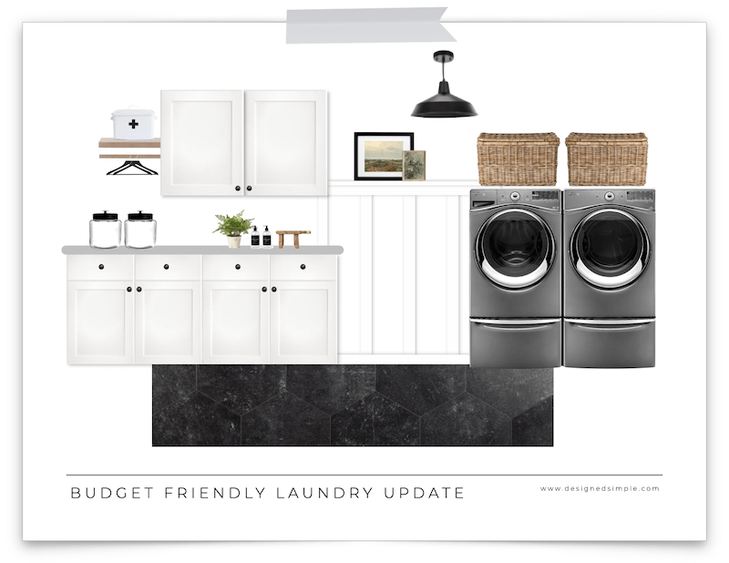 Sharing my plans for our budget friendly laundry room design - using materials, supplies and decor I already have for a quick makeover! | Designed Simple | designedsimple.com
