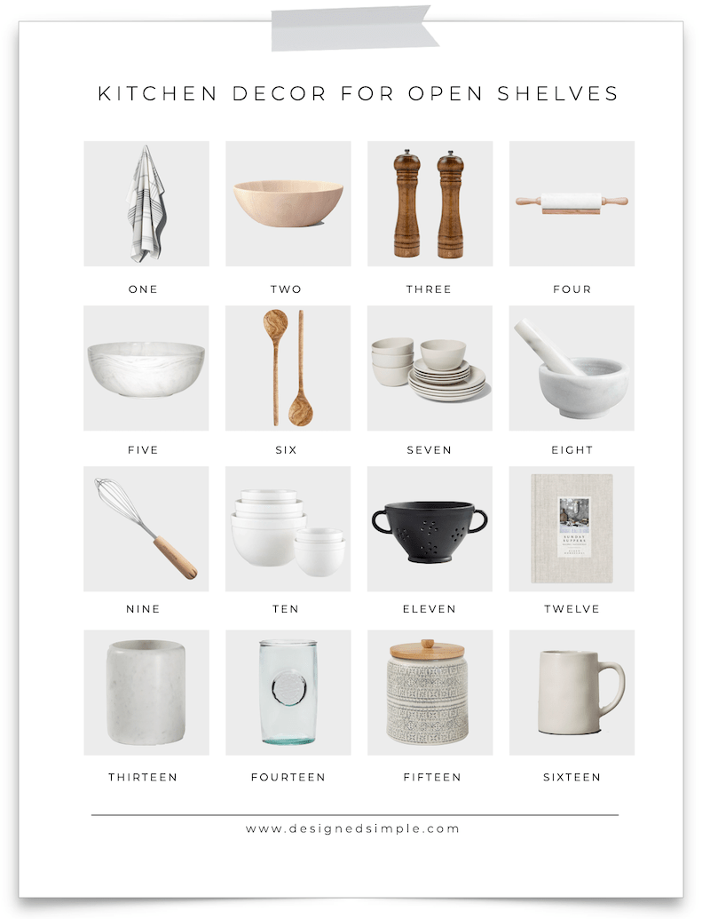 Sharing all of my favorite kitchen decor for open shelves! Items that are both useful and beautiful, great for shelves or countertops. | Designed Simple | designedsimple.com