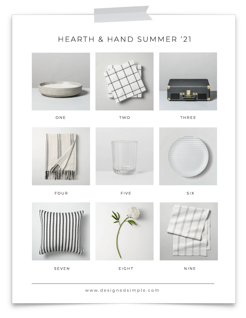 Sharing all my favorites from the Hearth & Hand Summer 2021 collection - black, white, and neutrals perfect for outdoor dining! | Designed Simple | designedsimple.com