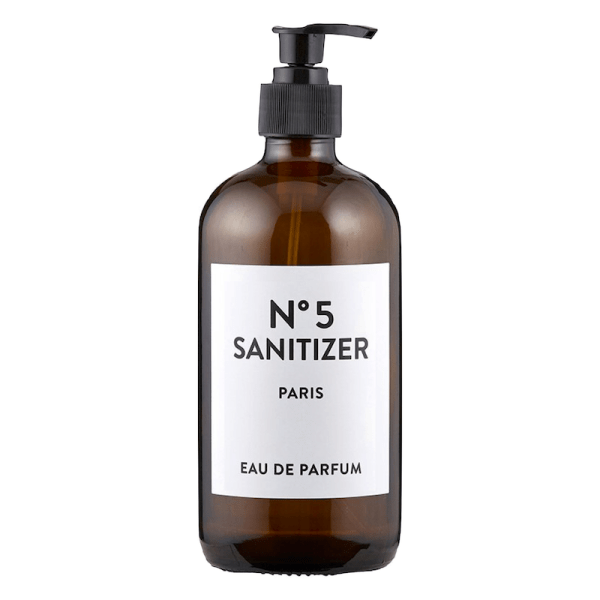 SHOP NOW! Amber glass hand sanitizer bottle with simple label. Just add your favorite sanitizer! Easy to refill & adds style to your home. | Designed Simple