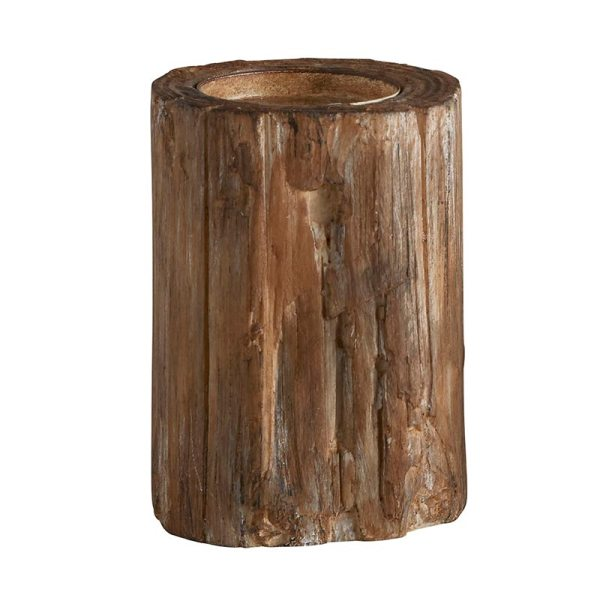 SHOP NOW - Add to your decor with this unique pillar candleholder. Made to look like tree bark, it's great for fall or holidays. | Designed Simple