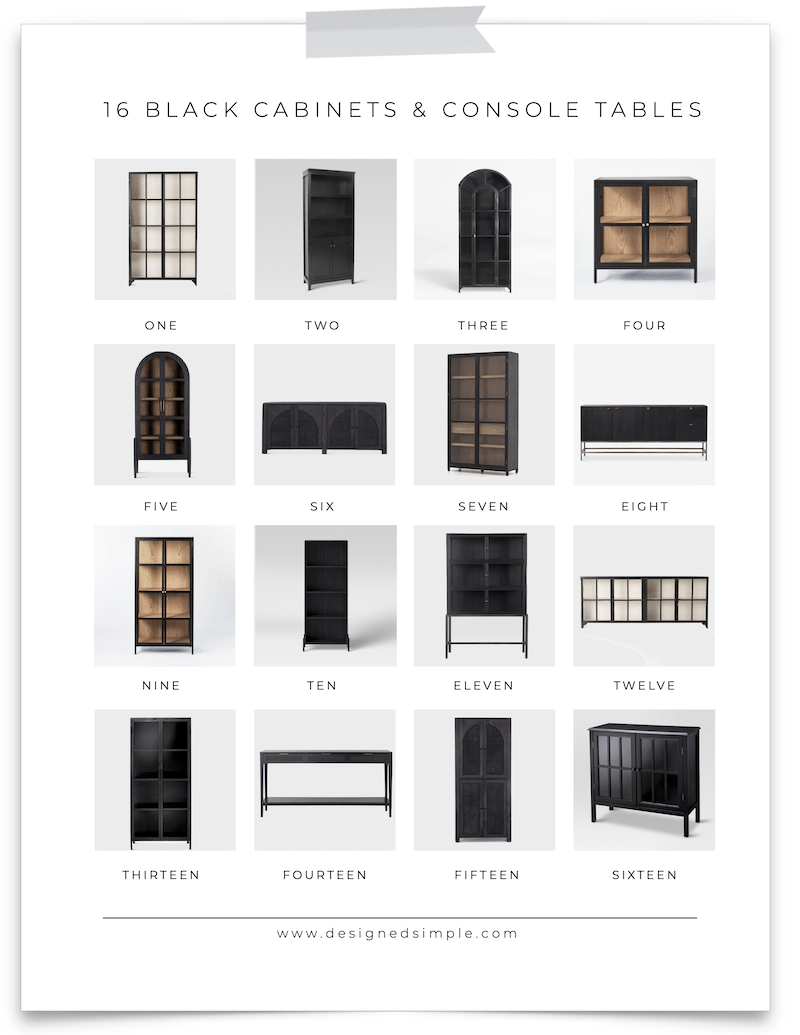From metal to wood, high end to affordable, and short to tall - I'm sharing 16 of my favorite black cabinets & console tables! | Designed Simple | designedsimple.com