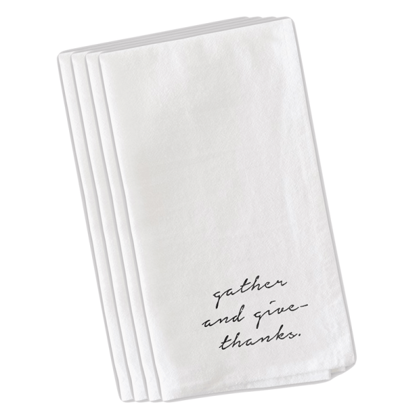 SHOP NOW - This set of gather and give thanks napkins will add style your Thanksgiving tablescape. Washable, use year after year!
