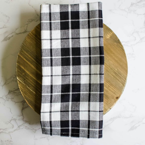 SHOP NOW - This black plaid kitchen towel is the perfect kitchen accessory for fall. Cotton with a hook detail, it's functional and stylish.| Designed Simple