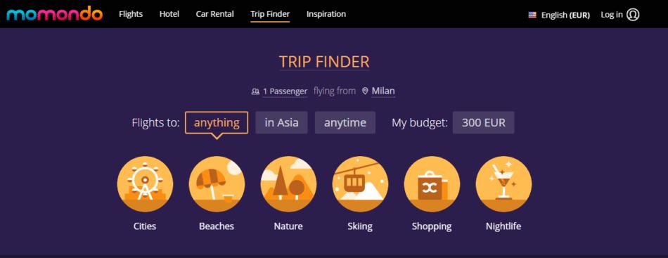Cinci site-uri cu inspiraţie pentru călătorii - Momondo Trip Finder