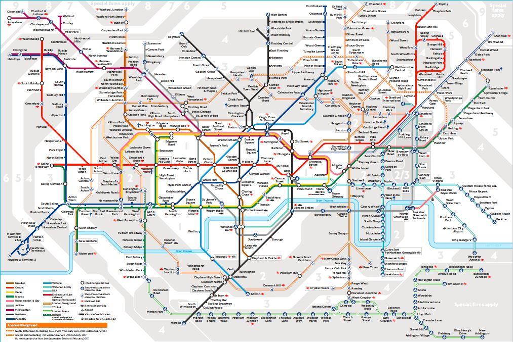 Transportul în Londra - harta metorului