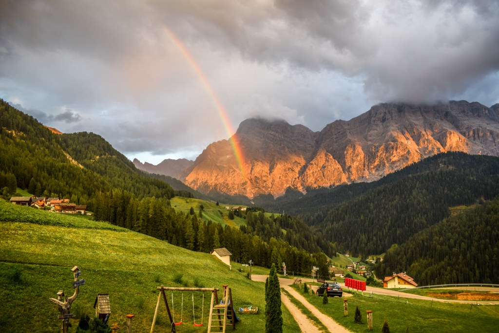 Rainbow sunset at Ciasa Raut, Dolomites!