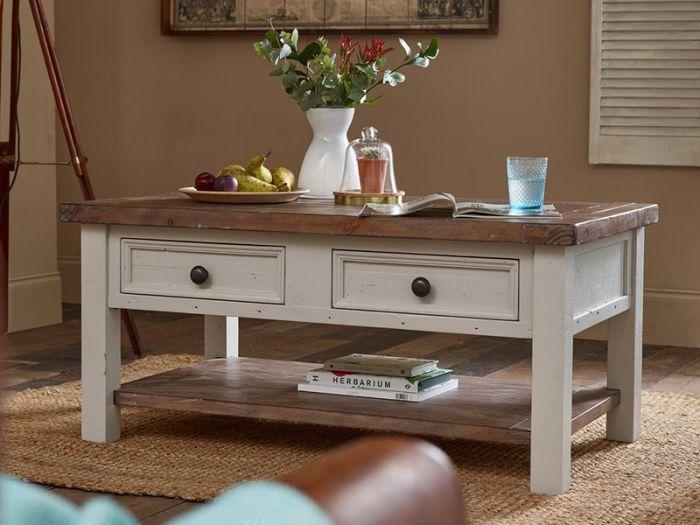 hampton grey painted shabby chic coffee table