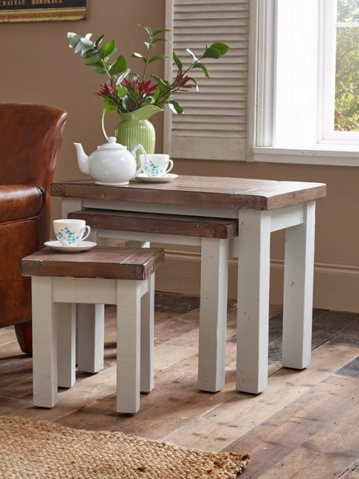 hampton grey painted shabby chic nest of tables