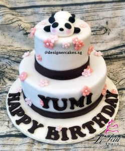 2 Tier Panda Cake with Pink Flowers