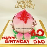 3D Shou Tao Longevity Bun Cake with Customized Name Cake Topper for Dad