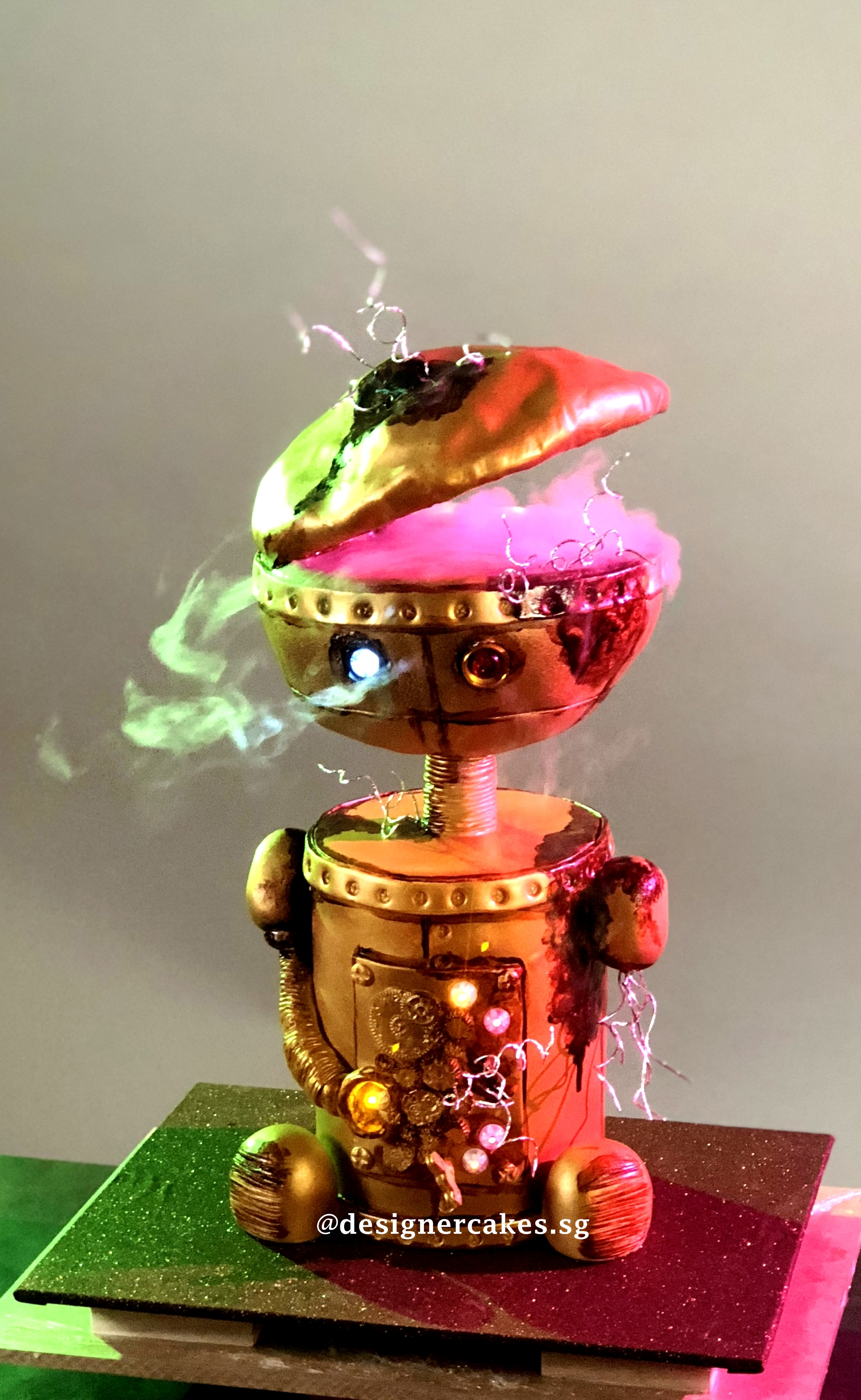 Broken, Smoking Robot Cake With Lights (1)