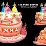 Customized 2 tier fondant cake + flowers, Princess toy toppers