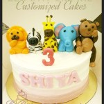 Customized Cream Cake with Fondant Lion Zebra Giraffe Elephant Monkey