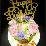 Buttercream Flower Cake + Glitter Gold Happy Birthday Topper