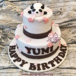 2 Tier Fondant Cake with 3D Edible Panda Figurine & Flowers.