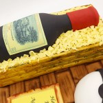 3D Wine Bottle in Wooden Crate Cake
