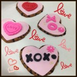 love, hugs and kisses, xoxo heart shaped cookies