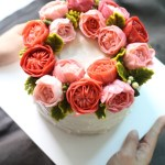 Korean Butter Cream Flower Cake - Wreath Style, Juliet Rose and Peony.
