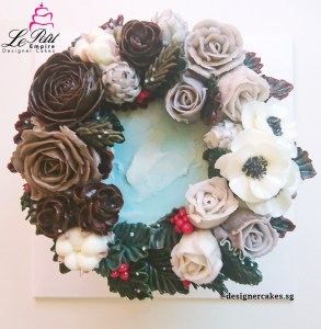 Korean Butter Cream Flower Cake - Wreath Style, Anemone, Pinecone, Cotton Flower, Berries.