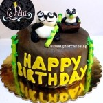 Panda Fondant Cake with Wood and Bamboo