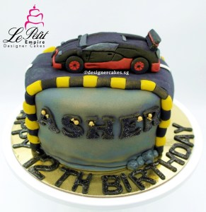 Sports Car on the Road Customized Fondant Cake