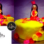 Customized Fondant Cake + Princess Figurine Doll + Crown Tiara and Flowers Cake