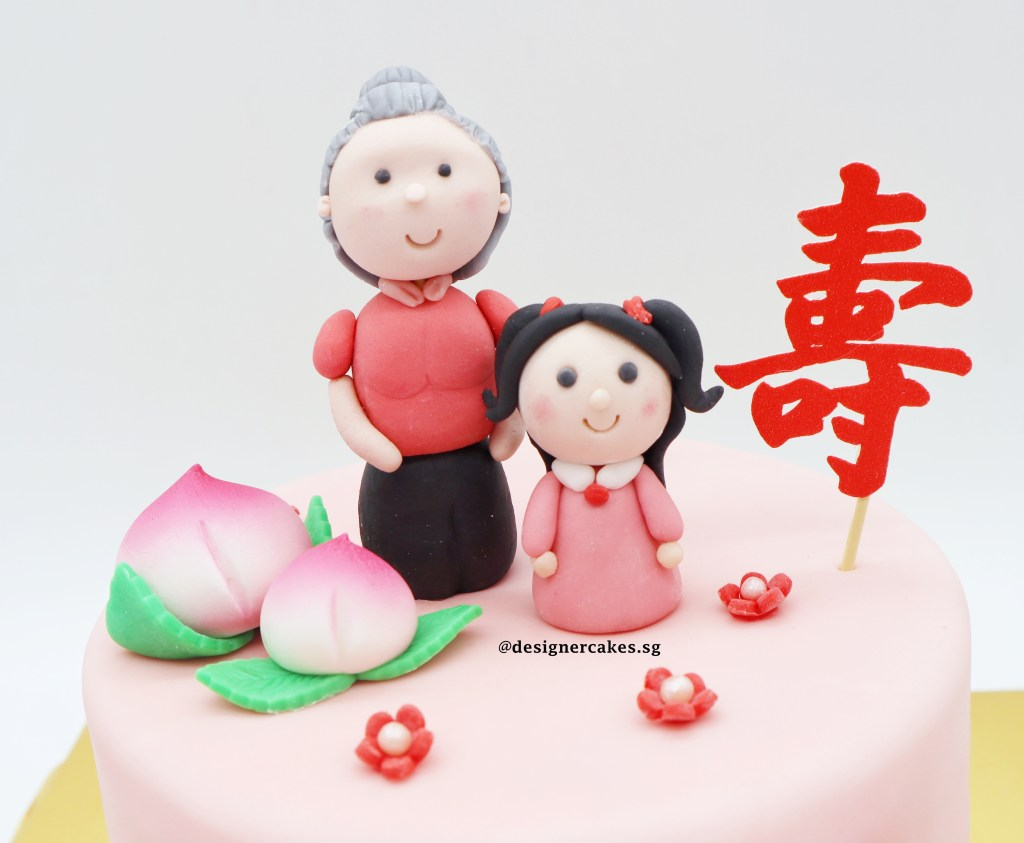 longevity bun fondant cake grandma little girl 寿