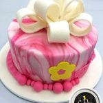 Customized Marbled Effect Cake with Ribbon Present Box Design Cake
