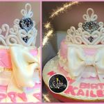 Customized Fondant Cake + Princess Crown Tiara, Pink, White Glitter, Silver Cake
