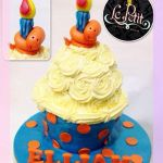 3D Giant Cupcake Customized Fondant Cake with Snake and Candle Figurine Cake