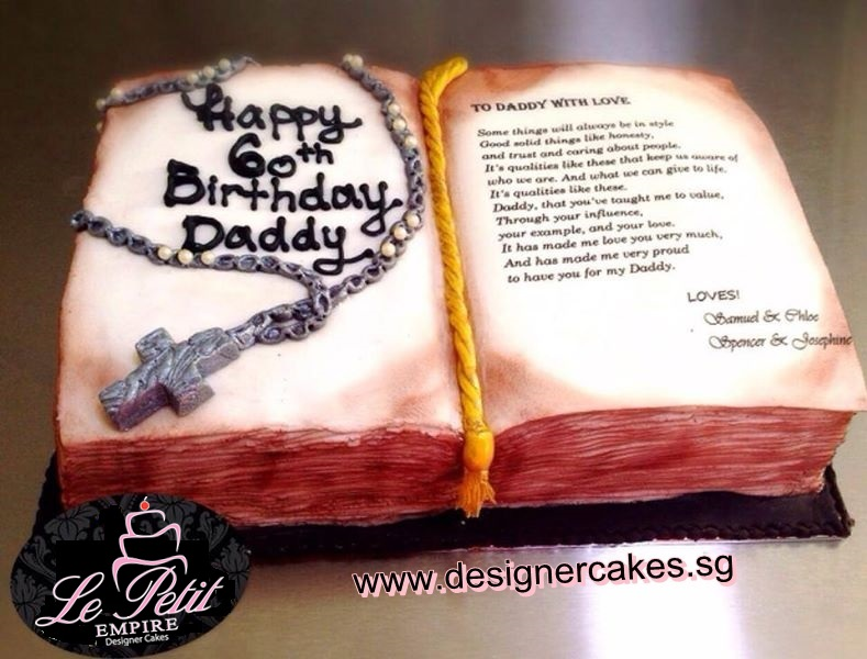 Tremendous Religious Cake Christian Cross Pendant Necklace On Bible Book Personalised Birthday Cards Paralily Jamesorg