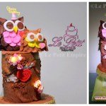 3D Sculpted Owl & Wooden Log Branch Cake with glowing sugar flower lights