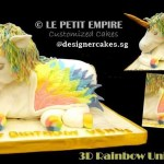 3D Sculpted Pastel Rainbow Unicorn Cake