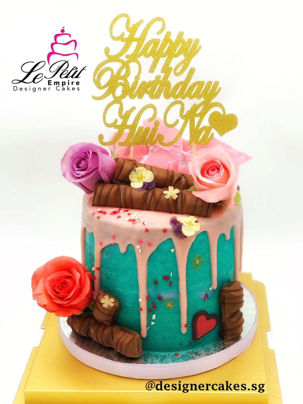 Drip Cake - Turquoise and pink drip cake with roses, chocolate, shards and customized name cake topper. Singapore Customized Cakes