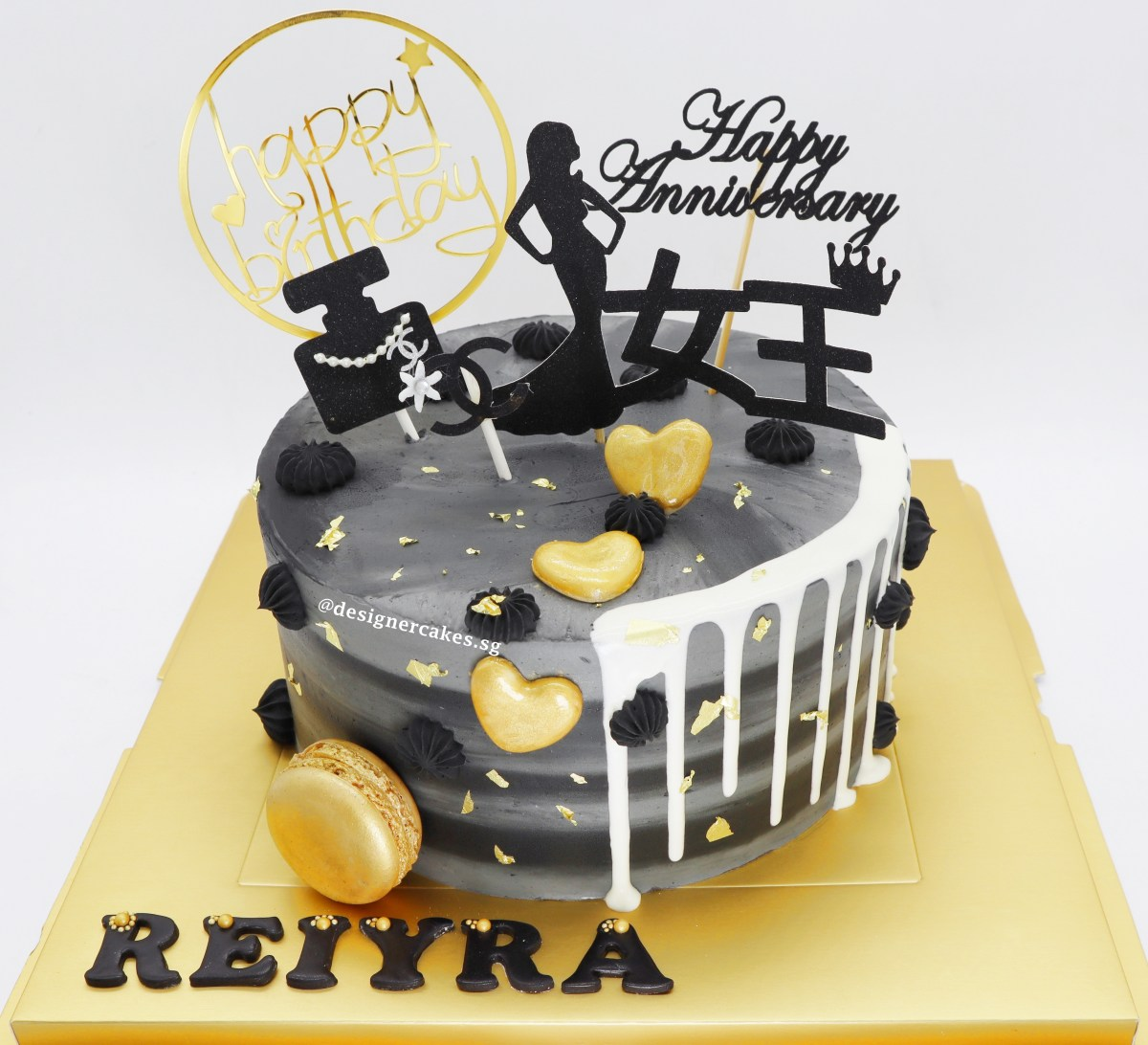 Grey and Black Queen Theme Cake With White Drips, Gold Macarons and Real Gold Flakes