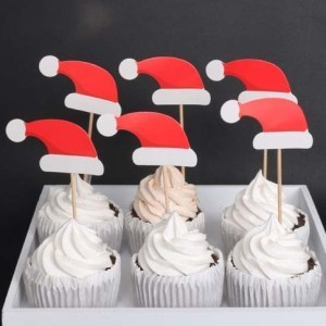 Cake Decorating Supplies - Christmas Santa Claus Cup Cake Toppers