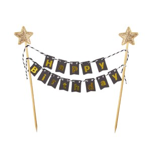 Cake Decorating Supplies - Gold Star Banner Cake Toppers - Black Gold
