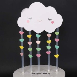 Cake Decorating Supplies - Rain Cloud Hearts Cake Toppers