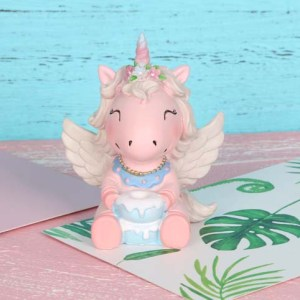 Unicorn With Wings and Cake - Cake Topper - Cake Decorating Supplies