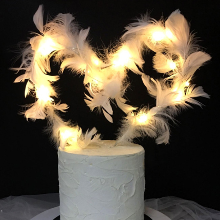 Bendable White Feather Cake Topper (2)