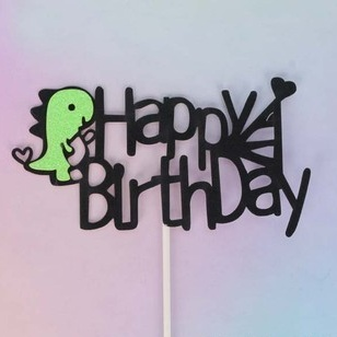 Dinosaur Happy Birthday Cake Topper