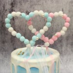 Pink Fury Ball Hearts Cake Topper (1)
